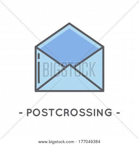 Universal minimal color envelope line icon on white background