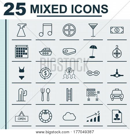 Set Of 25 Universal Editable Icons. Can Be Used For Web, Mobile And App Design. Includes Elements Such As Taxi, Aperitif, Eating House And More.