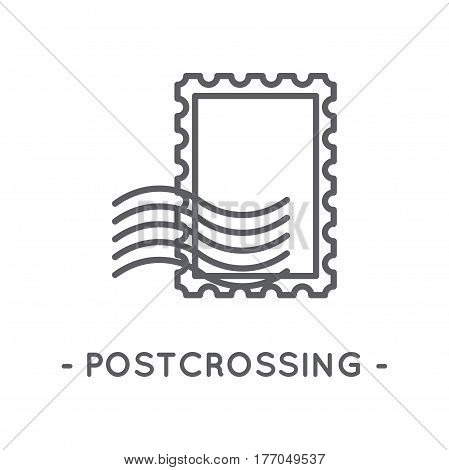 Universal minimal black postage stamp line icon on white background
