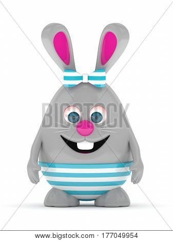 3D Rendering Of Easter Gray Bunny