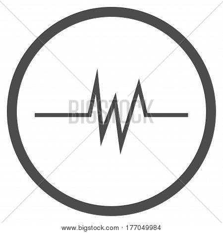 Pulse Signal rounded icon. Vector illustration style is flat iconic symbol inside circle, gray color, white background.