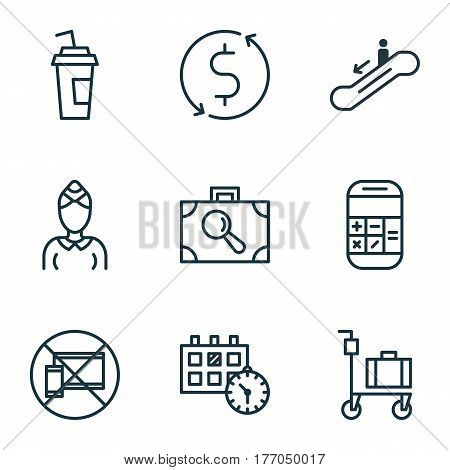 Set Of 9 Airport Icons. Includes Hostess, Drink Cup, Baggage Research And Other Symbols. Beautiful Design Elements.