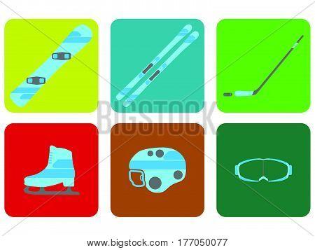 Winter Sports Equipment Flat Set Icon. Vector Illustration.