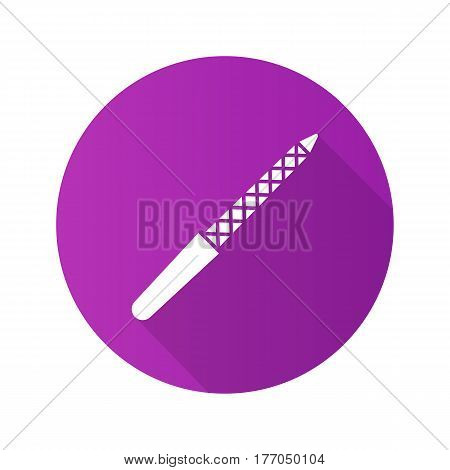 Nail file flat design long shadow icon. Vector silhouette symbol