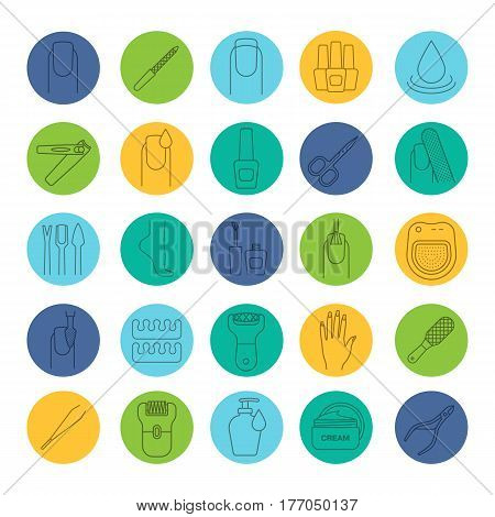 Manicure and pedicure linear icons set. Nail polish, scissors, epilator, soap, cream, tweezers, foot rasp, cuticle nipper. Thin line contour symbols on color circles. Vector illustrations