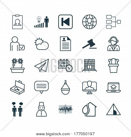 Set Of 25 Universal Editable Icons. Can Be Used For Web, Mobile And App Design. Includes Elements Such As Clear Climate, Badge, Airfield Manufacture And More.
