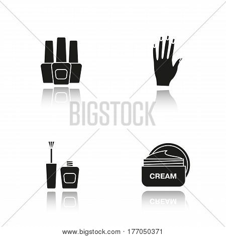 Manicure drop shadow black icons set. Nail polish bottles, woman's hand with manicure, cream jar. Isolated vector illustrations