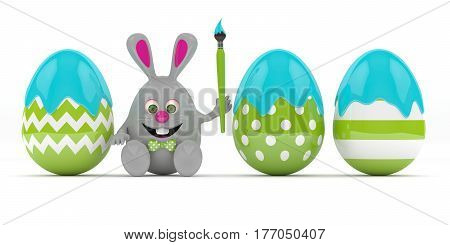 3D Rendering Of Easte Bunny With Painted Eggs