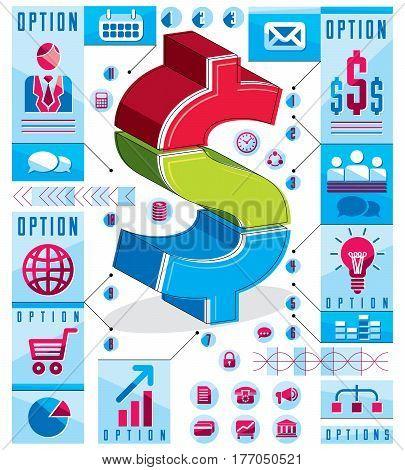Creative Infographics Concept, Layered Dollar Sign Idea, Vector Illustration.