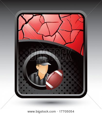 football referee on red cracked background