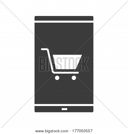 Smartphone shopping app icon. Silhouette symbol. Smart phone with shopping cart. Negative space. Vector isolated illustration