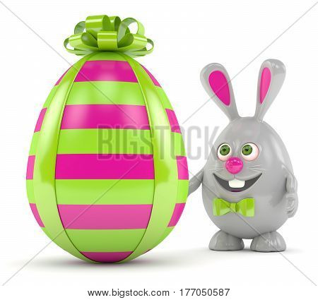 3D Rendering Of Easter Bunny Egg With Present Egg