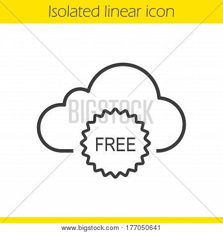 Cloud storage free space linear icon. Thin line illustration. Cloud computing contour symbol. Vector isolated outline drawing
