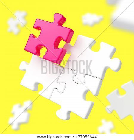 Unique red puzzle piece among many white assembling puzzles on yellow background. Standing out from crowd individuality difference leadership creativity and teamwork concept. 3D illustration