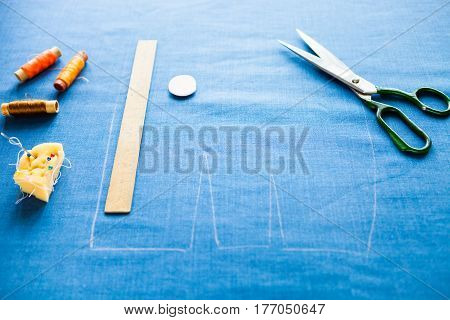 Still Life Photo Of A Suit Pattern Template With Tape Measure, Chalk And Scissors. Sewing And Tailor