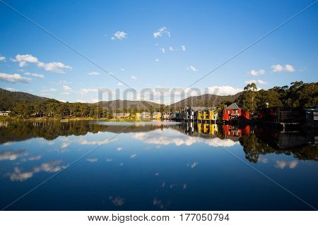 Lake Crackenback on an autumn afternoon in New South Wales, Australia