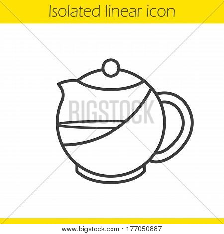 Brewing teapot linear icon. Thin line illustration. Contour symbol. Vector isolated outline drawing