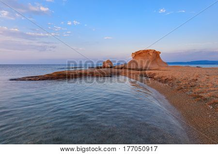 beautiful kakoudia beach at sunset. Ierissos Grecce