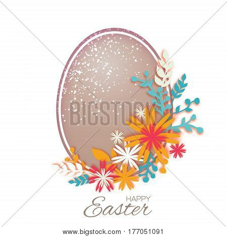 Origami Happy Easter Greeting card. Colorful Paper cut Easter Egg, Flower. Oval frame. Vector illustration.