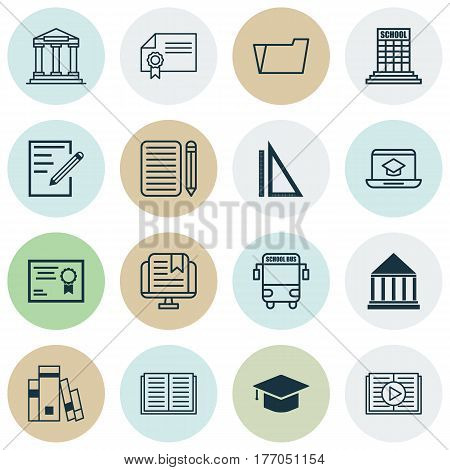 Set Of 16 Education Icons. Includes Education Center, College, E-Study And Other Symbols. Beautiful Design Elements.