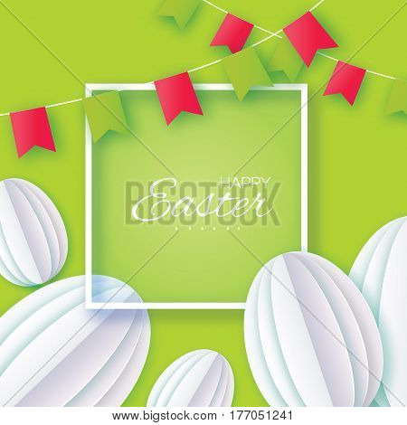 Origami Happy Easter Greeting card. White Paper cut Easter Egg, flags. Square frame. Green background. Vector illustration.