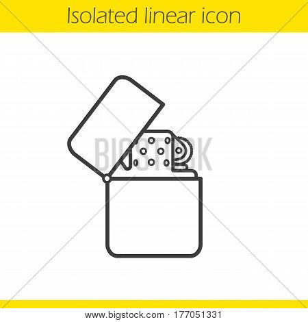 Gasoline lighter linear icon. Thin line illustration. Flip lighter contour symbol. Vector isolated outline drawing