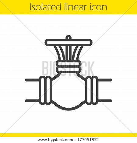 Gas pipe valve linear icon. Thin line illustration. Contour symbol. Vector isolated outline drawing