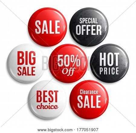 Set of glossy sale buttons or badges. Product promotions. Big sale, special offer, hot price, best choice, 50 percent off.