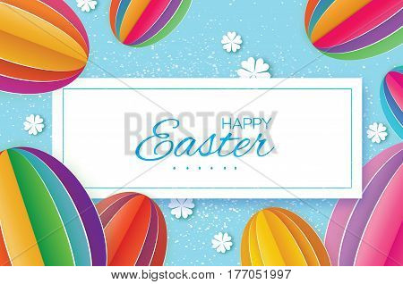 Origami Happy Easter Greeting card. Colorful Paper cut Easter Egg, white flowers. Rectangle frame. Blue background. Vector illustration.