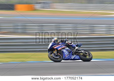 BURIRAM - MARCH 11: Decha Kraisart #24 of Thailand with Yamaha YZF R6 in The Supersport World Championship (WorldSSP) at Chang International Circuit on March 11 2017 in Buriram Thailand.