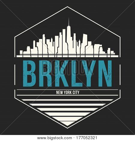 Brooklyn New York Graphic, T-shirt Design, Tee Print, Typography, Emblem.