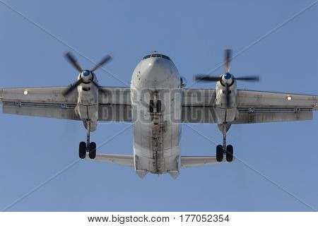 Aircraft An-26 is on landing Rostov-on-Don Russia 7 February 2012