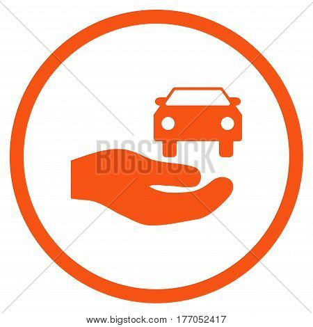 Car Gift Hand rounded icon. Vector illustration style is flat iconic symbol inside circle, orange color, white background.