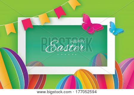 Origami Happy Easter Greeting card. Colorful Paper cut Easter Egg, flag, butterfly. Rectangle frame. Green background. Vector illustration.