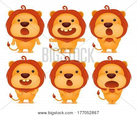 Collection of funny lion emoticon characters in different emotions. Vector set