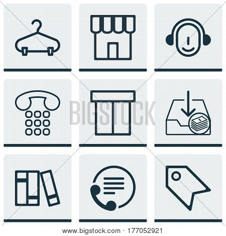 Set Of 9 Commerce Icons. Includes Callcentre, Withdraw Money, Employee And Other Symbols. Beautiful Design Elements.