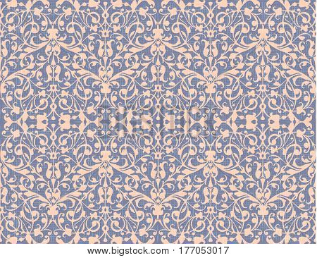 Vintage abstract swirl, seamless pattern background vector, damask style, violet canvas texture