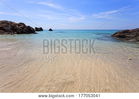 Andaman sea surface summer wave background landscape with clouds on horizonbeautiful natural tropical sea in phang nga thailand