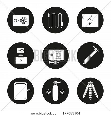 Action camera icons set. Sport cam, usb cable, battery, phone connection, waterproof case, selfie monopod stick, floating grip, box, tripod. Vector white silhouettes illustrations in black circles
