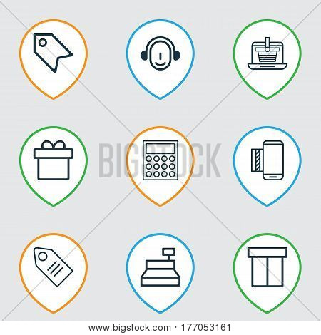 Set Of 9 E-Commerce Icons. Includes Mobile Service, Box, Ticket And Other Symbols. Beautiful Design Elements.