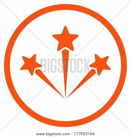 Festive Fireworks rounded icon. Vector illustration style is flat iconic symbol inside circle, orange color, white background.