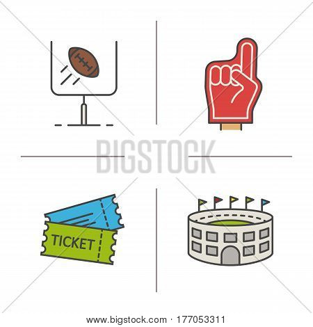 American football color icons set. Red foam finger, game tickets, baseball arena, goal sign. Isolated vector illustrations