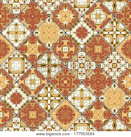 Brown and white abstract patterns in the mosaic set. Square scraps in oriental style. Vector illustration. Ideal for printing on fabric or paper.