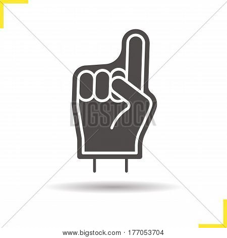 Foam finger icon. Drop shadow silhouette symbol. Sport fans hand. Negative space. Vector isolated illustration