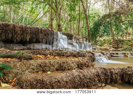 Waterfalls Huay Mae Kamin in summer nature forestThailand