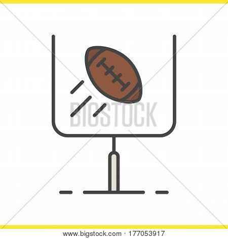American football or rugby goal color icon. Flying ball in gates. Isolated vector illustration