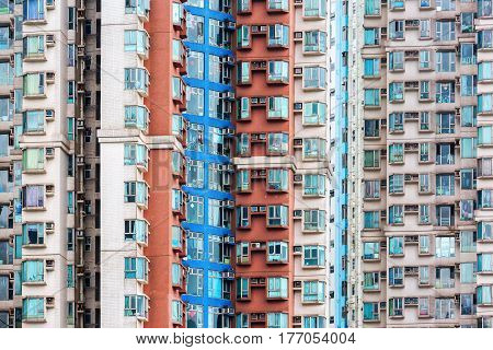 picture of facades of apartment skyscrapers in Hongkong