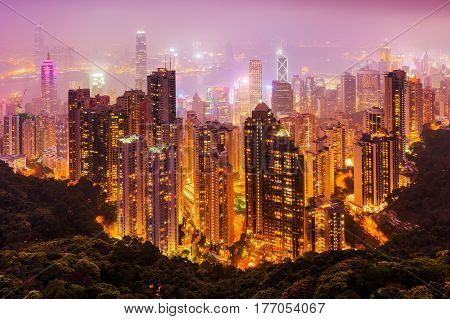 picture of an aerial view of Hongkong at night poster