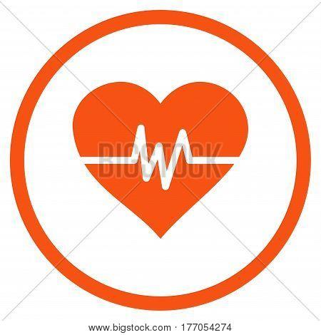 Heart Pulse rounded icon. Vector illustration style is flat iconic symbol inside circle, orange color, white background.