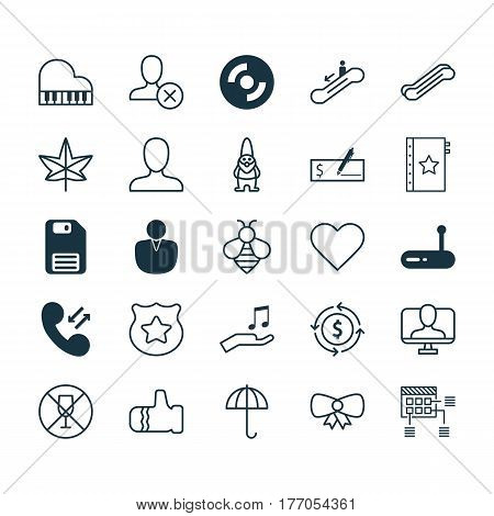 Set Of 25 Universal Editable Icons. Can Be Used For Web, Mobile And App Design. Includes Elements Such As Diskette, Note Donate, Gingham And More.